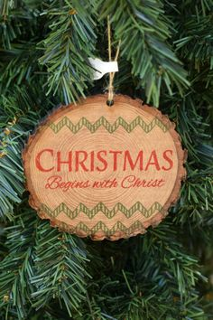 christmas begins with christ wood slice christmas ornament from family christian stores ad christmas wood - Christian Christmas Decorations