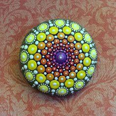 Jewel Drop Mandala Painted Stone- Sacred Geometry sun worshipper