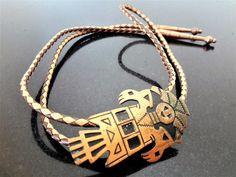 47e1dc714170 Copper Kachina Bolo Tie / Stamped Copper / Native American / Faux Leather  Lariat / Men's Gift