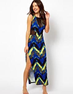 ASOS Printed Mesh Insert Maxi Beach Dress