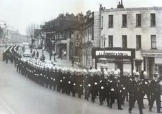 The Police marching along Hamlet Court Road, Westcliff-on-Sea Essex Police, London Places, Cops, Old Photos, British, Sea, History, Kitchen, Old Pictures
