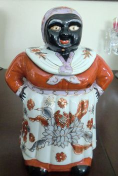 Vintage Mammy Cookie Jar Asian Lotus Flower Gold Enamel Work Black Americana | eBay
