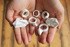 Ceramic Jewellery : Moko    Bone China 'diamond' rings, handmade in London.  Precious things out of simple materials.