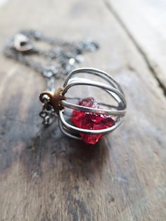 Raw Stone Pendant, Raw Garnet Necklace, OOAK, Oxidized Sterling, Raw Crystal Jewelry, January Birthstone, Rare Earth by Amulette