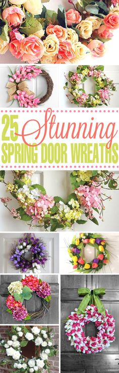 so many beautiful spring door wreaths! I can't wait for the warmer weather so I can make these for my door.