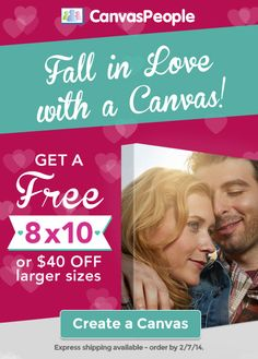 Valentine's Gift Idea: FREE 8x10 Canvas Photo or Save $40 Off Larger Sizes
