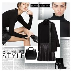 """""""Black on Black Minimalist Style"""" by stylepersonal ❤ liked on Polyvore featuring Zara and Minimaliststyle"""