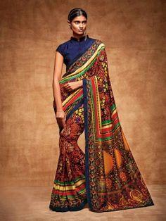 Fantastic Multicolour Tussar Silk Printed Casual Saree