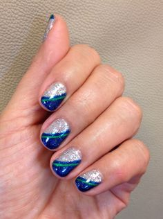 """Am I Making You Gelish?"" and ""Holiday Party Blues"" by gelish  Another Seahawks Nail inspired color. #SEAHAWKSNAILS"