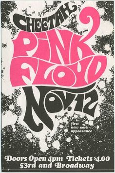 Concert poster for Pink Floyds debut New York show at the Cheetah Club, November 12, 1967.