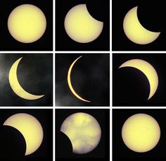 Aug of de last solar eclipse (chronologically top left - bottom right), seen from London of England, as rush-hour eclipse of de Sun brings an unmissable astronomical spectacle to de UK. Solar Eclipse Live, Cosmos, Total Eclipse, Eclipse 2015, Vernal Equinox, Dark Material, Super Moon, Our Solar System