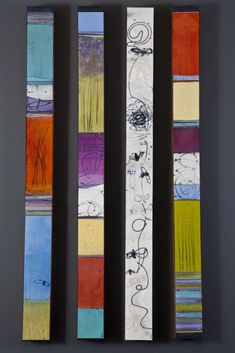 Leslie Pilgrim, In the Bee Garden, series Totems, Painted Sticks, Encaustic Art, Expo, Outdoor Art, Wood Sculpture, Art Plastique, Yard Art, Wood Wall Art