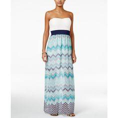 Trixxi Juniors' Strapless Printed Maxi Dress ($23) ❤ liked on Polyvore featuring dresses, trixxi dresses, white day dress, trixxi, white maxi dress and maxi dresses