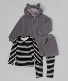 Loving this Leighton Alexander Fuzzy Gray Animal Zip-Up Hoodie Set - Toddler & Girls on #zulily! #zulilyfinds