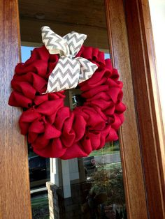 Red Burlap Wreath With Grey Burlap Chevron Bow - Alabama, Roll Tide, Game Day