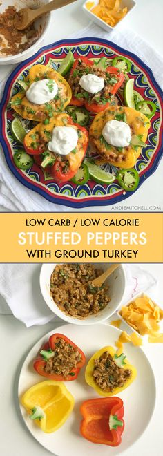 Healthy and Easy Stuffed Peppers with Ground Turkey - loaded with Mexican flavor and tons of veggies! They're made without rice, too, so they're low carb and low calorie! Ground Turkey Stuffed Peppers, Mexican Stuffed Peppers, Stuffed Peppers Healthy, Stuffed Turkey, Low Calorie Recipes, Diet Recipes, Healthy Recipes, Diabetic Recipes, Yummy Recipes