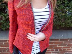 red jacket and stripes