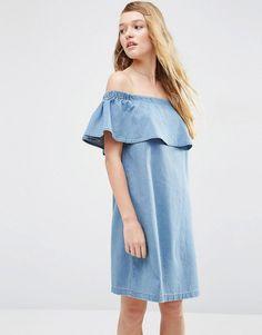 ASOS+Denim+Bardot+Off+Shoulder+Dress+With+Ruffle