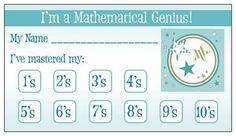 Math facts punchcard