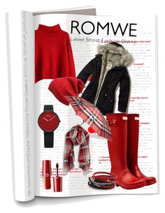 """Romwe Sweater"" by valerie-42 ❤ liked on Polyvore featuring Hollister Co., Hunter, Giorgio Armani, Burberry and Madewell"