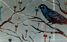 Crow on a branch with hanging keys HD Wallpaper Branch Art, Bird On Branch, Bird Tree, Artistic Wallpaper, Bird Wallpaper, Raven Images, Crow Bird, Gothic Bedroom, Six Of Crows