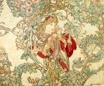 A rich floral motif in pale pink, pale green and ochre intertwine and partially obscure a fair-haired woman in regal red robes holding a daisy