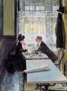 #Gotthardt Kuehl (1850-1915), Lovers in a Cafe Private Collection