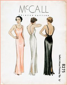 1930s 30s McCall 8275 vintage sewing pattern low plunge back side slit evening slip dress lingerie PICK YOUR SIZE bust 30 32 34 36 38 repro reproduction