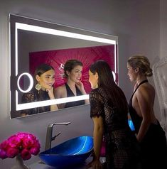 Dimmable Lighted mirror Aurora 60 X 28 Backlit Bathroom Mirror, Bathroom Mirror With Shelf, Bathroom Lighting, Mirror With Lights, Lighted Mirror, Classic Wall Mirrors, Illuminated Mirrors, Mirror Shapes, Mirrors