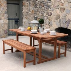 Outdoor Walker Edison Acacia 3 pc. Picnic Table with Benches - HNW3SBR-2BT