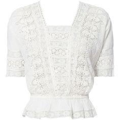LOVESHACKFANCY Women's Jane Lace Crop Top ❤ liked on Polyvore (see more short sleeve shirts)
