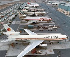 "National Airlines McDonnell Douglas DC-10-10 N66NA ""Shirley"" on the Long Beach production line, circa September 1972. Beyond, sisterships for American, Delta, Laker, Northwest and UTA can be seen waiting their turn."