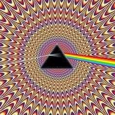 Pulsating Seizure Pink Floyd ~ Dark Side Of The Moon ~ Illusion optical illusion. Stefan this is a whole site that has some wonderful optical illusions. Optical Illusions Pictures, Illusion Pictures, Illusions Mind, Trippy Pictures, Illusion Kunst, Illusion Art, Arte Pink Floyd, Art Fractal, Poster Design