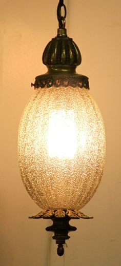 Vintage Crackle Glass Swag Lamp (SOLD)