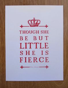 Shakespeare Quote  Girl's Room Nursery Art - (Helena  about Hermia in A Midsummer-Night's Dream, Act III, scene II, line 344) // Unique by PetitInk, $16.00