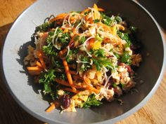 Salmon Salad w/ Glass Noodles and Kale