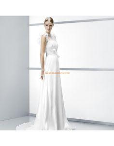 Liebste Randverzierungärmel Brautkleider aus Chiffon mit Schärpe- Jesús Peiró