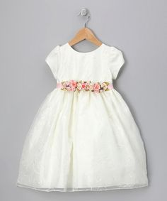 Take a look at this Ivory Swirl Embroidered Dress - Infant, Toddler & Girls by Dimples & Blink on #zulily today!