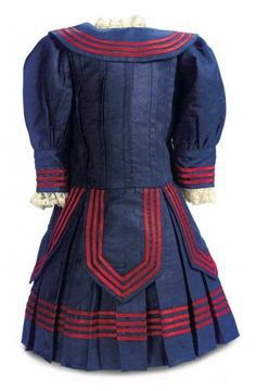 Blue Silk Mariner Dress With Red Piping