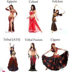 Os estilos de dança do ventre: Egípcio, cabaré, folclore, cigano, tribal