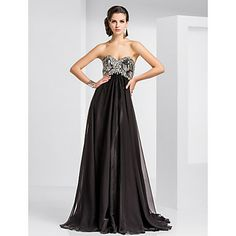 A-line Sweetheart Sweep/Brush Train Chiffon And Sequined Evening Dress  – USD $ 199.99