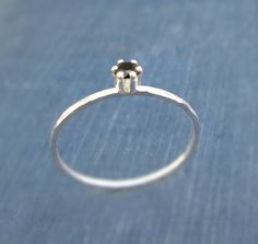 Tiny Black Spinel Ring / Sterling Silver Slim by ZhivanaDesigns, $38.00