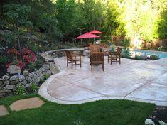 stamped concrete patio designs   Landscape backyard stamped concrete patio Design Ideas, Pictures ...