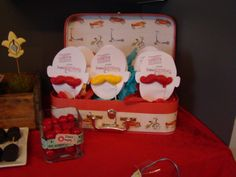 """Vaughn Carnival parry- cute suitcase of """"Ringmaster"""" chocolate mustaches"""
