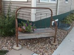 Wrought-iron bed frame bench Still have old iron baby bed; was going to make a gate - maybe not? Wrought Iron Bed Frames, Old Bed Frames, Old Headboard, Headboard Benches, Headboards, Bed Frame Bench, Diy Garden Furniture, Furniture Ideas, Iron Bench