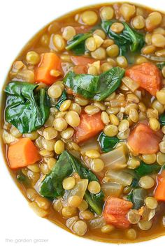 The Garden Grazer: Lentil Spinach Soup Easy, healthy Lentil Spinach Soup spiked with flavorful cumin and smoked paprika! A nutrient-dense plant-based meal and freezer-friendly. Whole Food Recipes, Soup Recipes, Vegetarian Recipes, Dinner Recipes, Cooking Recipes, Healthy Recipes, Salad Recipes, Healthy Tips, Red Lentil Recipes Easy