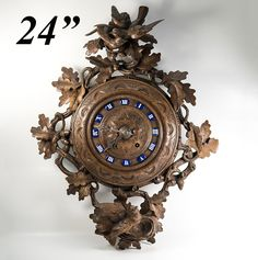 Spectacular Antique 24' French Black Forest Carved Wall Clock, Enamel Indices, Runs EC