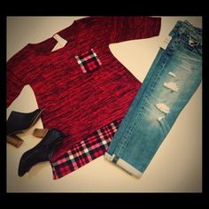 Red & Black plaid Top Dark Red & Black Pocket Plaid Tee. Three quarter sleeve. Plaid trim. Loose & flowy  fit. Hits upper thighs for longer fit. 65% polyester, 30% rayon ,& 5% spandex. Made in USA. Pairs cute for an ootd with joes Billie crop boyfriend jeans & black peep toes. All still available in the closet.  trades ✅ posh rules only J Mode USA Tops Tunics
