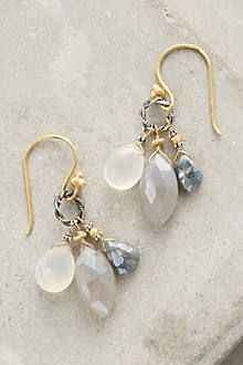Petite cluster earrings in ethereal hues with moonstone and sparkling grey sapphire. Handcrafted in Robindira Unsworth's Petaluma studio.