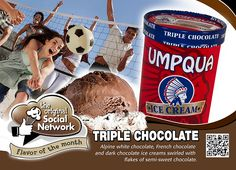 Triple Chocolate - June Flavor of the Month. Alpine white chocolate, French chocolate and dark chocolate ice cream swirled with flakes of semi sweet chocolate.